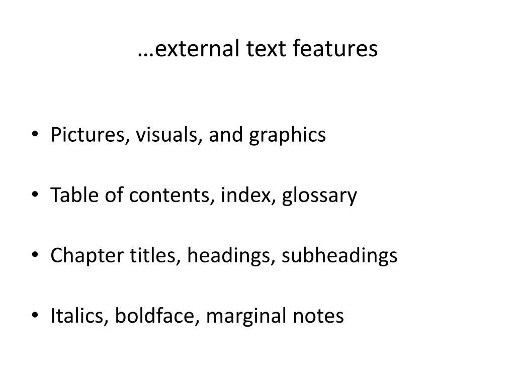 …external text features