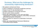 summary what are the challenges for successfully implementing homecare