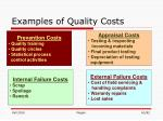 examples of quality costs