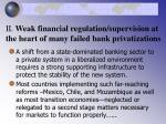 ii weak financial regulation supervision at the heart of many failed bank privatizations