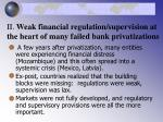 ii weak financial regulation supervision at the heart of many failed bank privatizations16