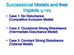 successional models and their impacts p 133