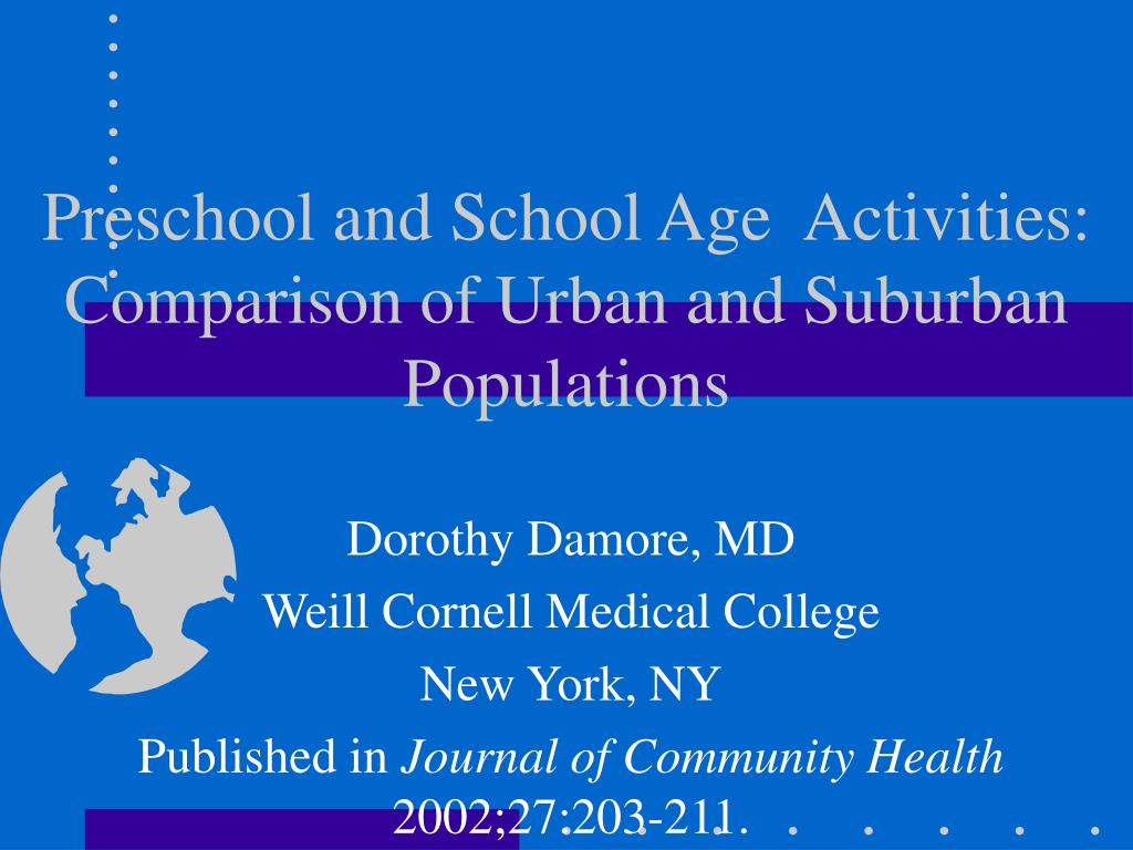 preschool and school age activities comparison of urban and suburban populations l.