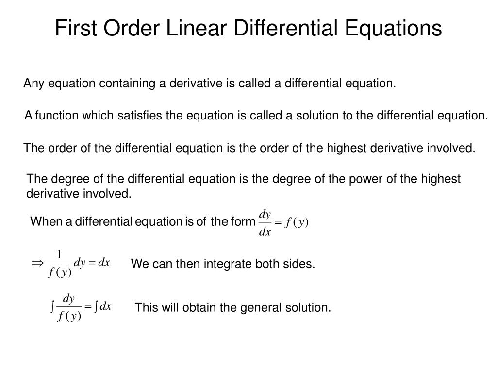 first order linear differential equations l.