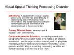 visual spatial thinking processing disorder