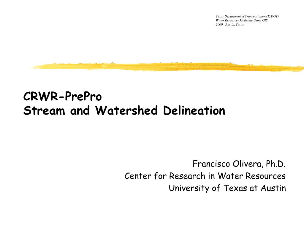 crwr prepro stream and watershed delineation l.