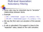 multi level association redundancy filtering