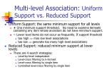 multi level association uniform support vs reduced support