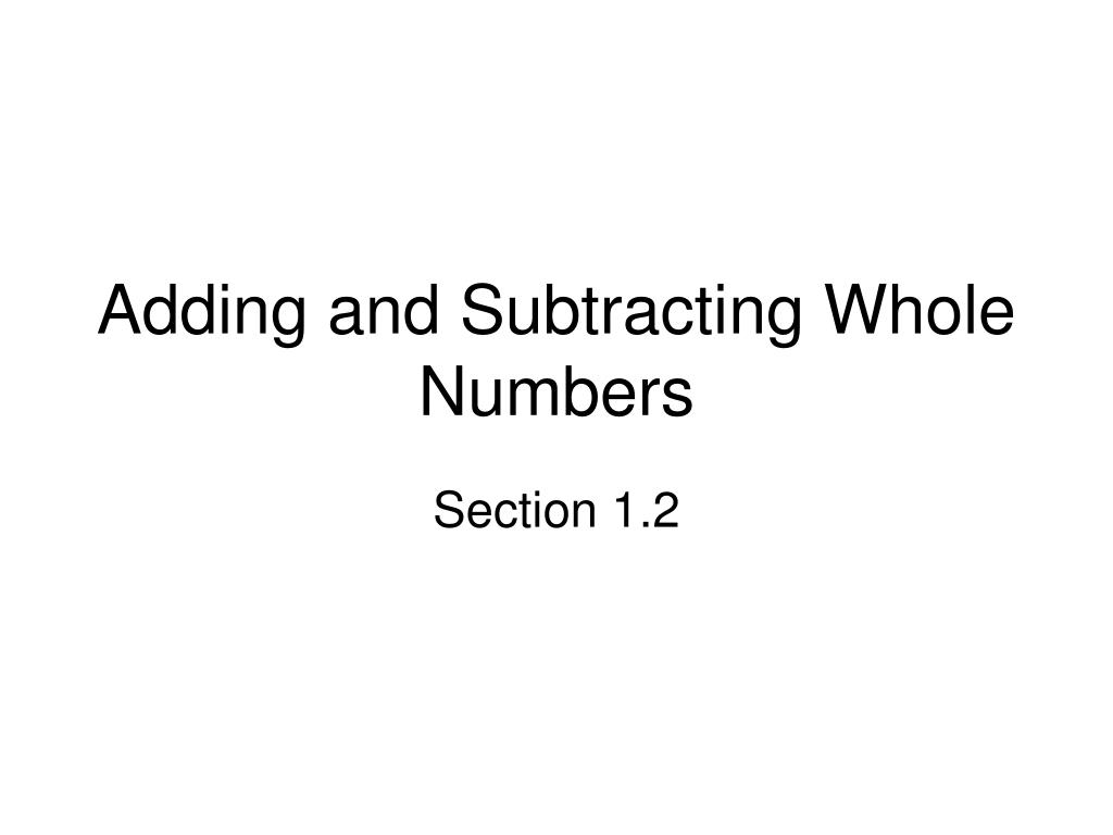 adding and subtracting whole numbers l.