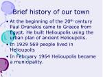 brief history of our town