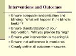 interventions and outcomes
