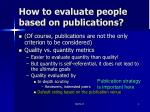 how to evaluate people based on publications