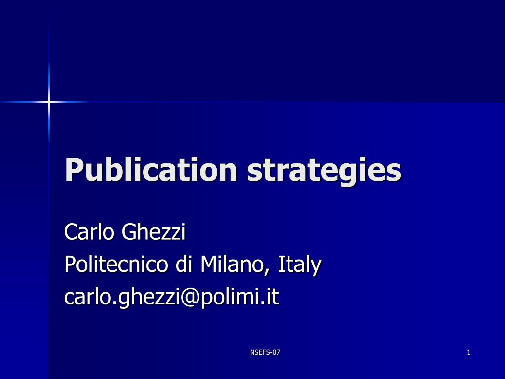 publication strategies l.