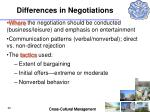 differences in negotiations