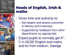 heads of english irish maths31