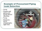 example of pressurized piping leak detection