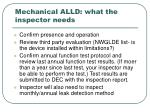 mechanical alld what the inspector needs