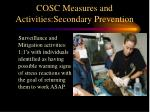 cosc measures and activities secondary prevention