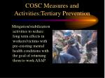 cosc measures and activities tertiary prevention