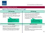 agency executive summary for fy 2007