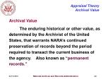appraisal theory archival value