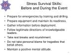 stress survival skills before and during the event