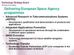 delivering european space agency programmes