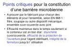 points critiques pour la constitution d une barri re microbienne