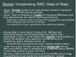review incorporating jdbc steps of steps