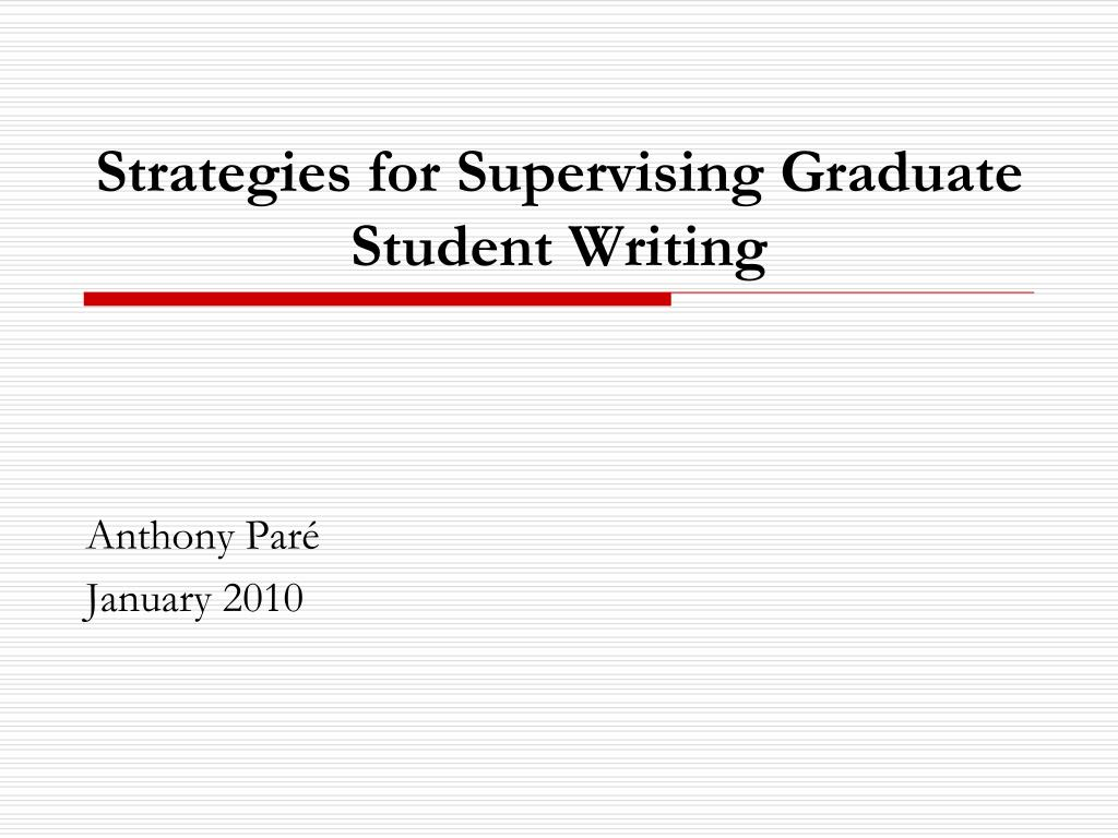 strategies for supervising graduate student writing l.
