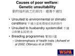 causes of poor welfare genetic unsuitability