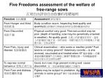five freedoms assessment of the welfare of free range sows