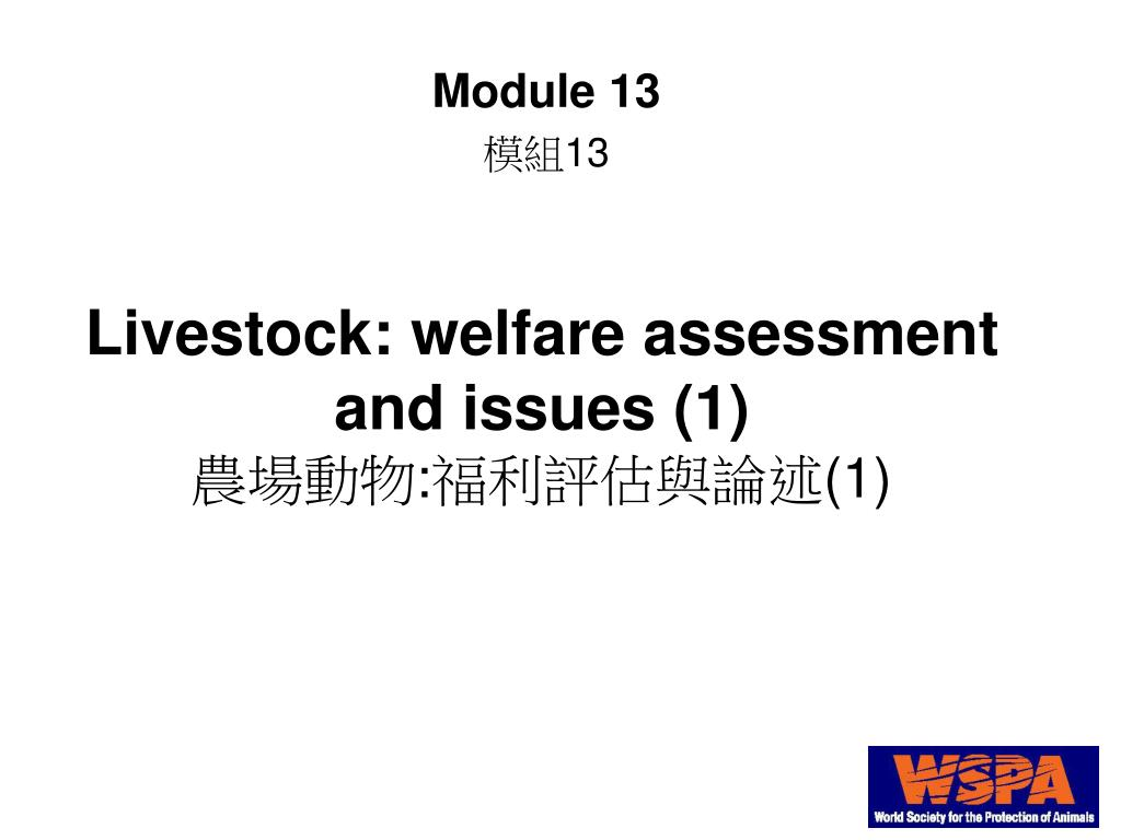 livestock welfare assessment and issues 1 1 l.