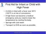 first aid for infant or child with high fever