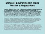 status of environment in trade treaties negotiations