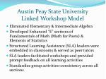 austin peay state university linked workshop model