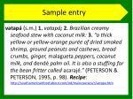 sample entry