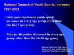national council of youth sports between 1997 2001
