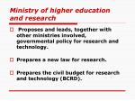 ministry of higher education and research
