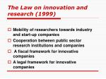 the law on innovation and research 1999