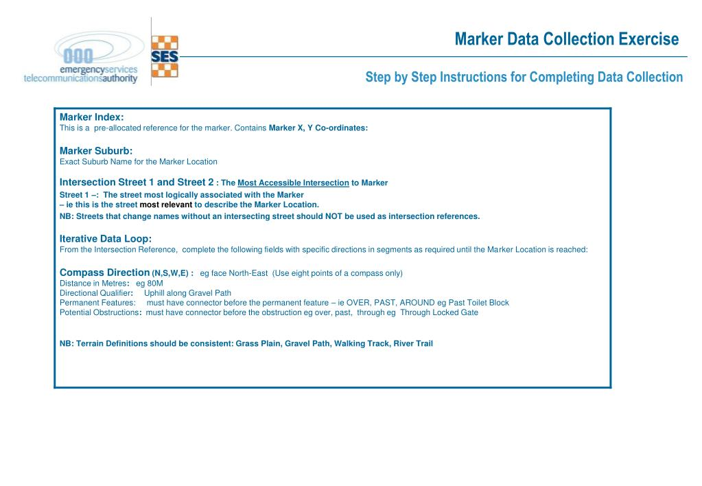 Marker Data Collection Exercise