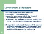development of indicators