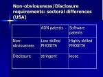 non obviousness disclosure requirements sectoral differences usa