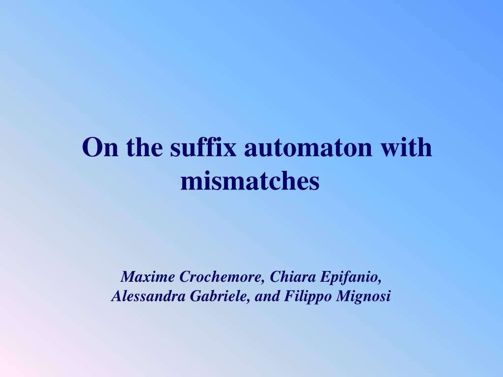 on the suffix automaton with mismatches l.