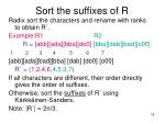 sort the suffixes of r