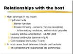 relationships with the host