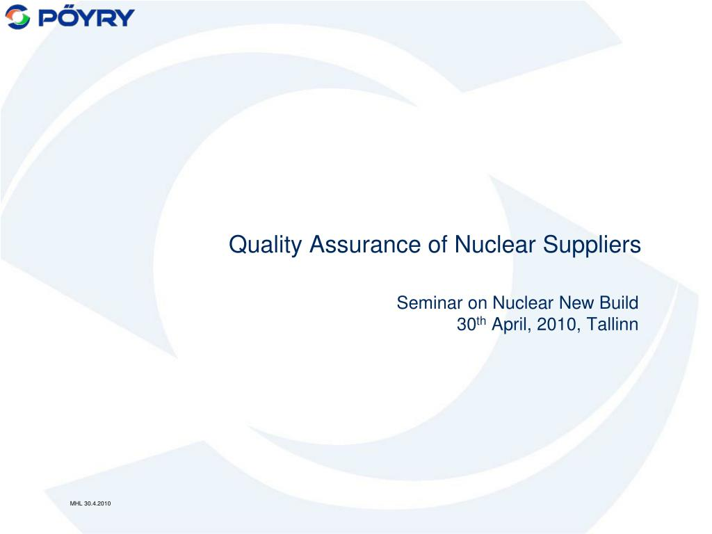 quality assurance of nuclear suppliers l.