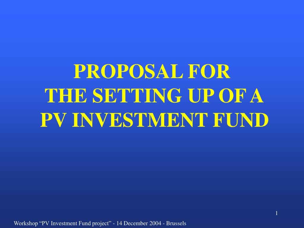 proposal for the setting up of a pv investment fund l.