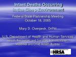 infant deaths occurring in the sleep environment