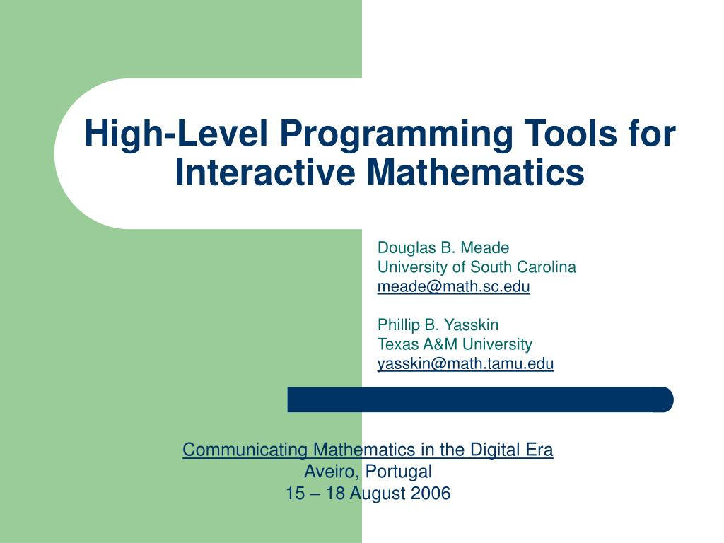 high level programming tools for interactive mathematics l.